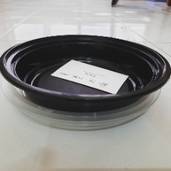 Black base container round shape, These containers are designed to be reused and transport easily, Keeps hot foods hot and cold foods cold, Lightweight material, Perforated lid options available for easy lid removal