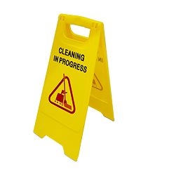"we offers high quality caution board ""cleaning in progress"" that is used for displaying in cleaning in progress area to caution people about wet floor. On seeing it, people do not go in wet floor cleaning area and it prevents them from slipping"