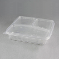 Clear microwavable compartment containers with lid
