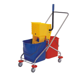 Double Bucket Trolley, Fits into tight spaces for convenient storage, Wringer Trolley made up of Stainless steel frame Down Press Heavy Duty Wringer With Double Bucket, Each Bucket  Capacity -25  Liter With Utility Bin and Mop Holder  Bin Color Red & Blue. Lockable Wheels Long Handle for Easy Handling.