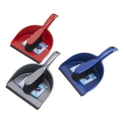 Dustpans are used with brooms to remove all dust and dirt particles as a first level of dry floor cleaning .The dustpan is commonly used in combination with a broom or long brush. The small dustpan may appear to be a type of flat scoop. Though often hand-held for home use, industrial and commercial enterprises use a hinged variety on the end of a stick to allow the user to stand instead of stoop while using it.