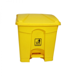 Dust bin yellow color A waste container is a container for temporarily storing waste, and is usually made out of metal or plastic. Some common terms are dustbin, garbage can, and trash can. The words rubbish, basket and bin