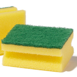 A sponge is a tool or cleaning aid made of soft, porous material. Typically used for cleaning impervious surfaces, sponges are especially good at absorbing water and water-based solutions.