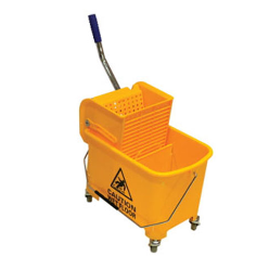 A mop bucket cart is a wheeled bucket that allows its user to wring out a wet mop without getting the hands dirty. The cart has two buckets with the upper one usually clipped onto the lower. The upper bucket is used to place the wet mop for storage and press handle