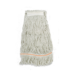A commercial grade Kentucky mop. This has a larger, longer, flatter head than the domestic mop, and can hold and transfer to the floor a far greater quantity of cleaning water, whilst the bucket incorporates a pedal action roller system which wrings more effectively than the common twist cone.