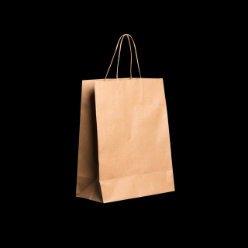 The self-opening square paper bag is brown in color and has twist handles for easy carry. This medium size paper bag has a flat surface to accommodate stacked food boxes and can be used in boutiques, trade shows, stalls, exhibitions and food carts.