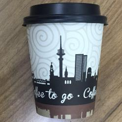 Paper cup with city image logo