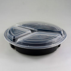 black base container with compartment round shape