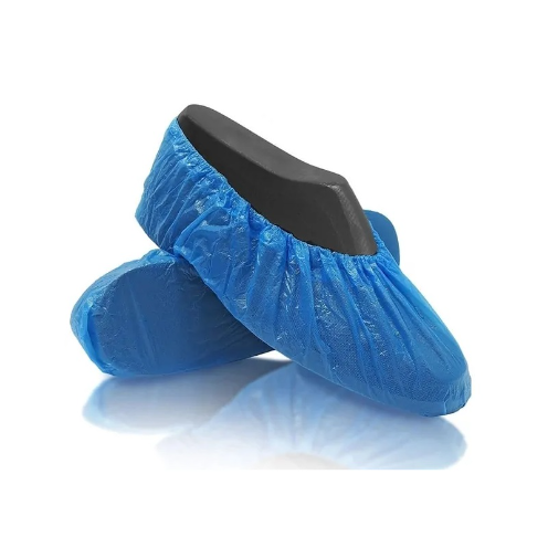 Shoe covers are disposable slip-on garments that fit snugly over a variety of shoe style and sizes. They prevent potentially hazardous material (including organic and chemical particles) from coming in contact with the bottom of a person's shoes