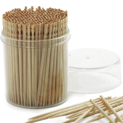A toothpick is a small thin stick of wood, plastic, bamboo, metal, bone or other substance with at least one and sometimes two pointed ends to insert between teeth to remove detritus, usually after a meal.