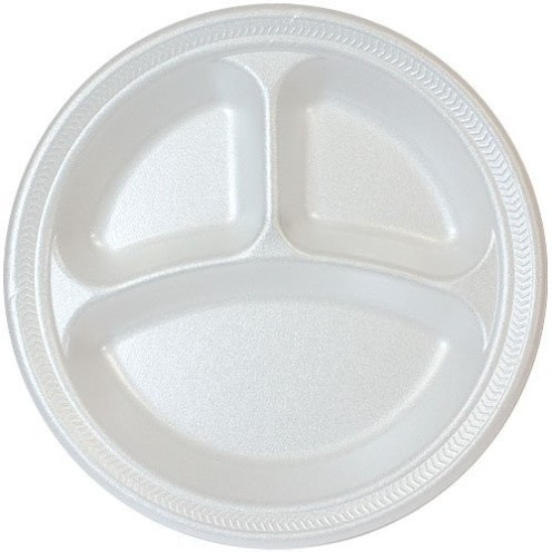 white foam plate with compartment